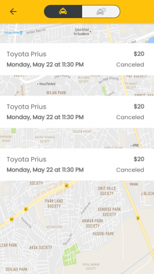 Taxi app history page